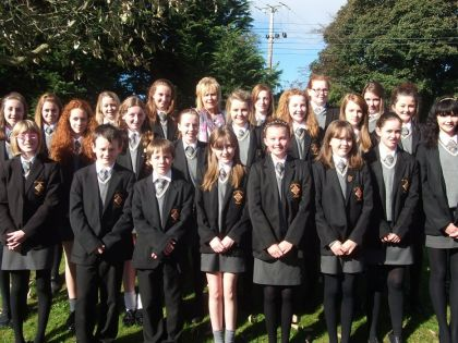 St Columba's Choir pictured with Mrs Gallagher